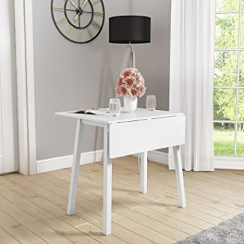 New Haven White Drop Leaf Space Saving Dining Table Amazoncouk