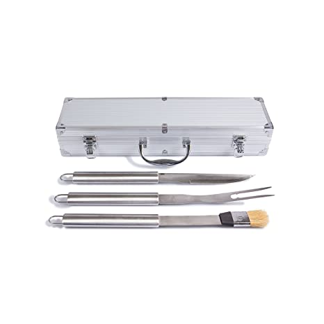 Rustler RS de 0524 Barbacoa – Cubertería en maletín Aliminium, Plata