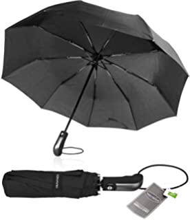 TRAVANDO ® Paraguas Plegable + Abrir y Cerrar automático & teflón hídrofugo – A Prueba de