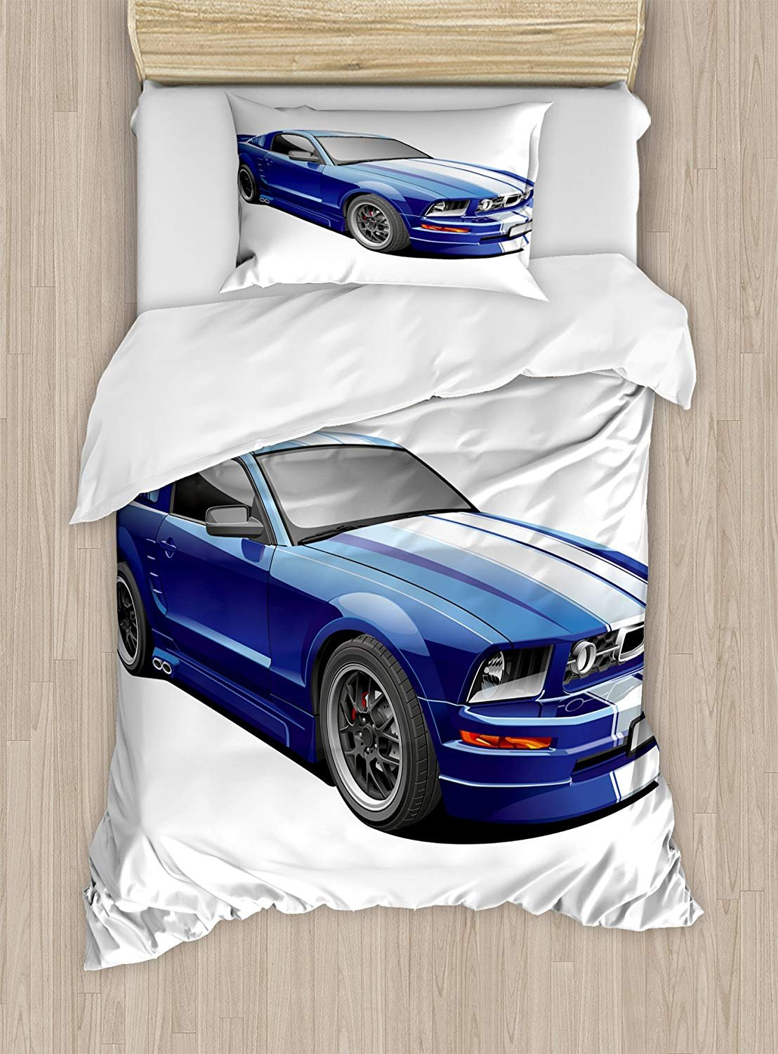 Twin XL Extra Long Bedding Set, Teen Room Duvet Cover Set, American Auto Racing Theme Car Sports Competition Speed Winner Boys Kids Graphic, Cosy House Collection 4 Piece Bedding Sets