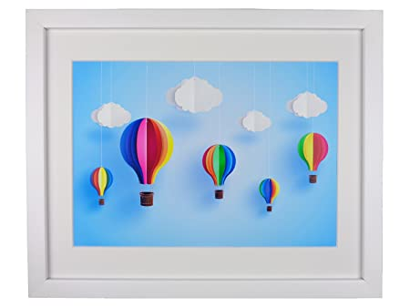 38cm X 31cm Origami Hot Air Balloons And Clouds Framed Print Art