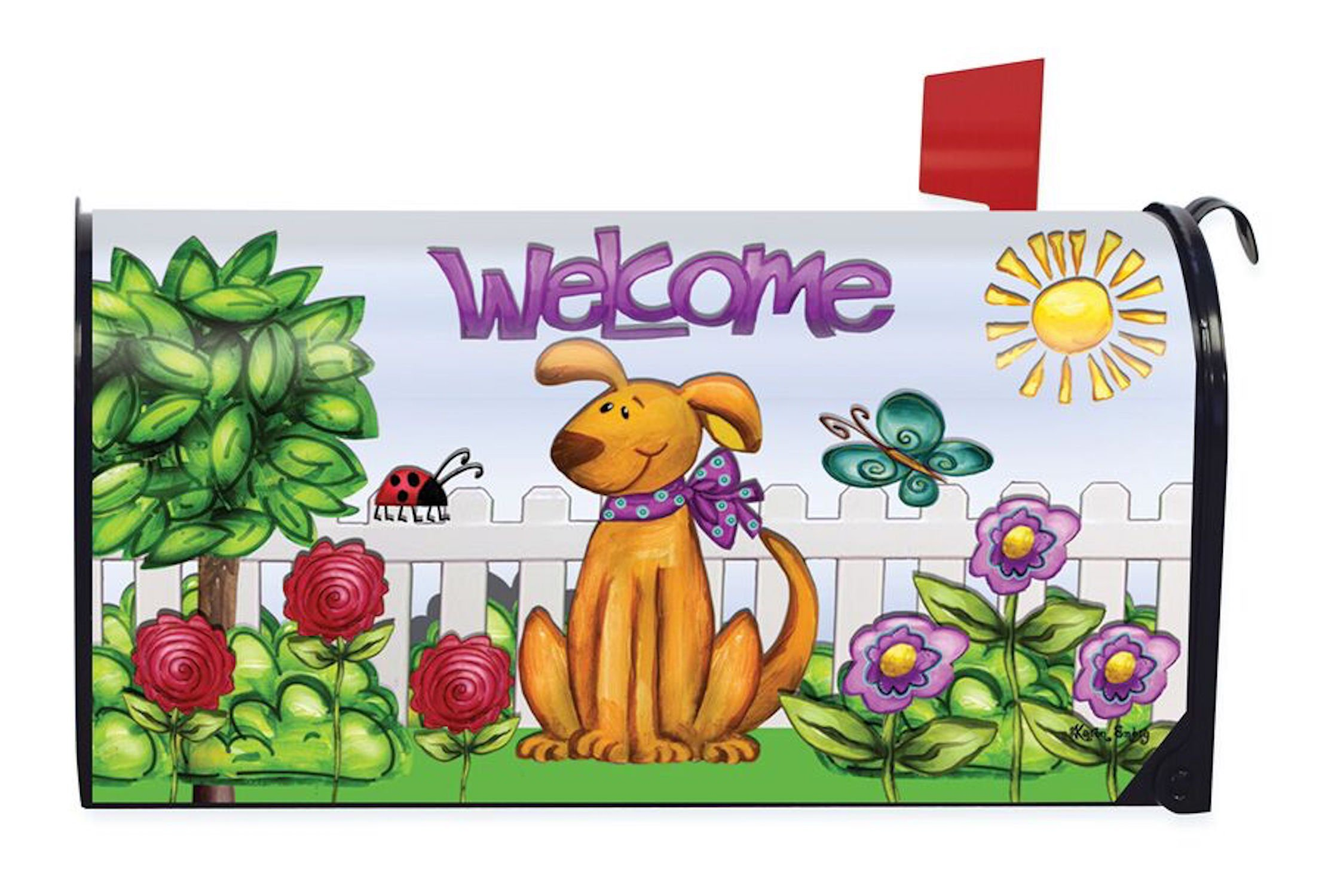 Briarwood Lane Dog Welcome Spring Magnetic Mailbox Cover Floral Puppy