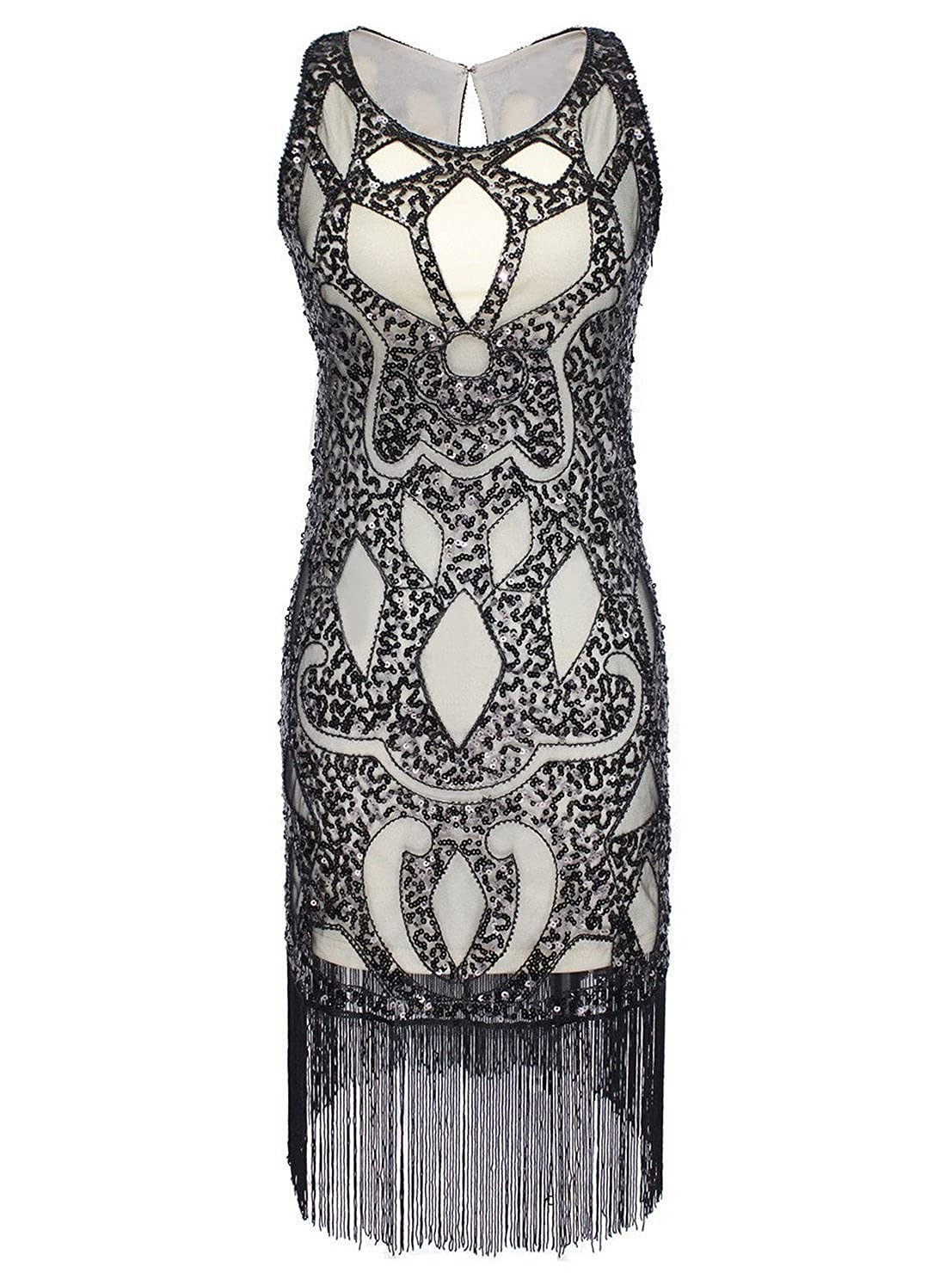 26225bb7 Evening,party,wedding cocktail dress ,Vintage 1920s style gatsby costume  dress. Both front and back are decorated with sequined paisley pattern