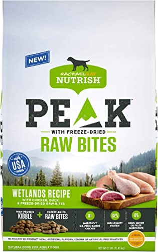 Rachael Ray Nutrish PEAK Natural Dry Dog Food with Freeze Dried Raw Bites, Wetlands Recipe with Chicken Duck, 23 Pounds, Grain Free