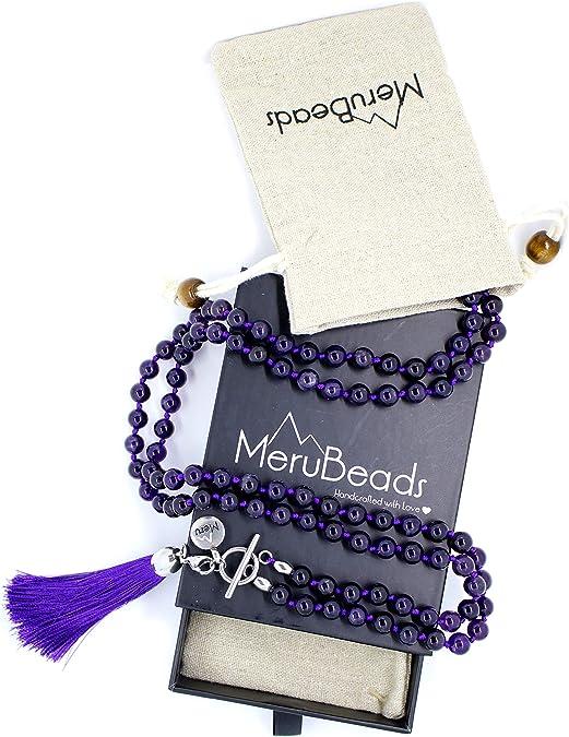 6mm Lepidolite 108 Beads Handmade Tassel Necklace Spiritua Japa Religious