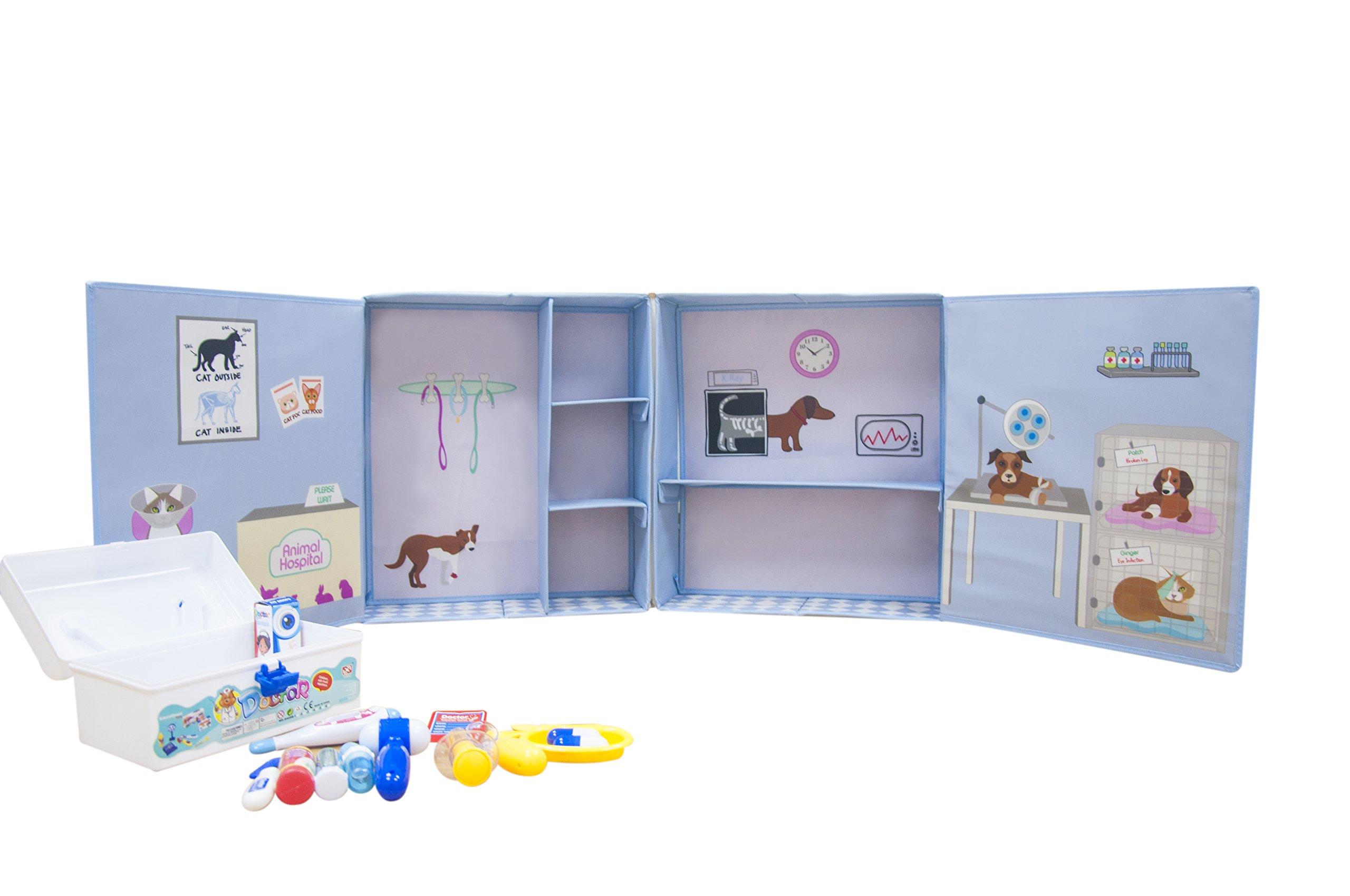 Asweets 10126001 Vet Animal Hospital with Plush Storage Box