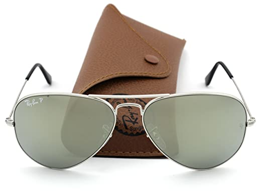 4520c67d3 Ray-Ban RB3025 003/59 Silver Frame / Silver Green Mirror Polarized Lens  58mm: Amazon.co.uk: Clothing