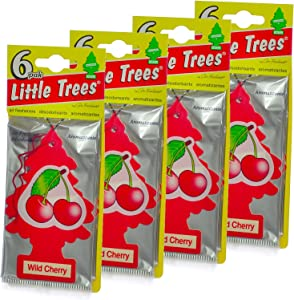 LITTLE TREES Car Air Freshener | Hanging Paper Tree for Home or Car | Wild Cherry | 24 Pack