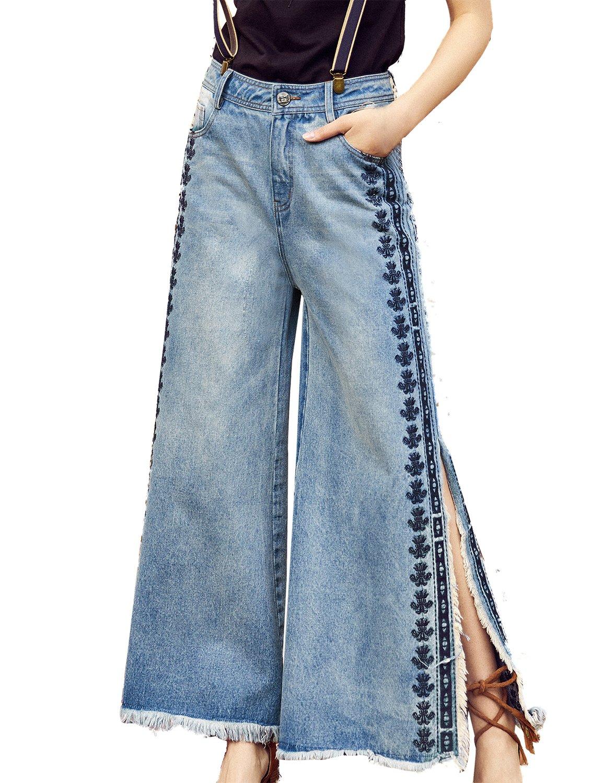 Artka Women's Flare Jeans Vintage Embroidered Bell Bottom Pants High Waist Blue