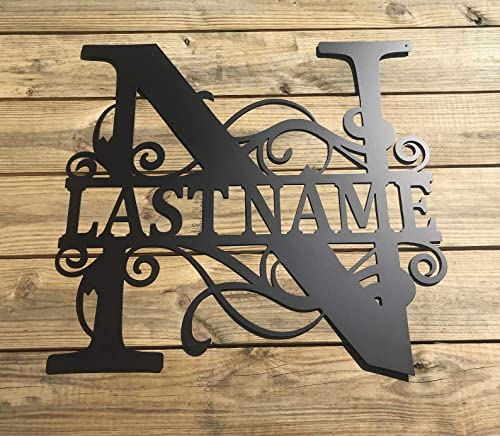 Wedding Gift Outdoor Name Sign Metal Sign Last Name Sign Front Door. Family Name Sign Anniversary Personalized Metal Monogram Sign