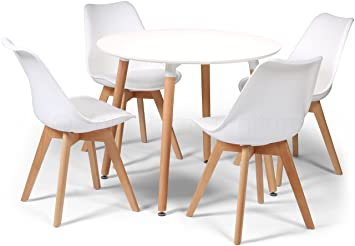 f481dbe893fe Your Price Furniture.com Toulouse Tulip Eiffel Style Dining Set - White 90cms  Small Round