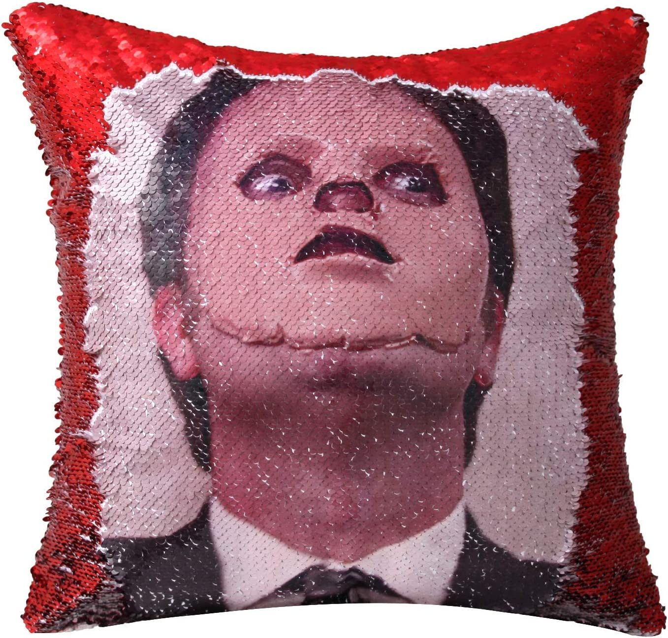 Ainik The Office Dwight Schrute Sequin Pillow Cover Mermaid Throw Pillow Cover Magic Reversible Sequin Cushion Cover Decorative Pillowcase 16x16 inch for Home Couch Decor (Dwight mask red)