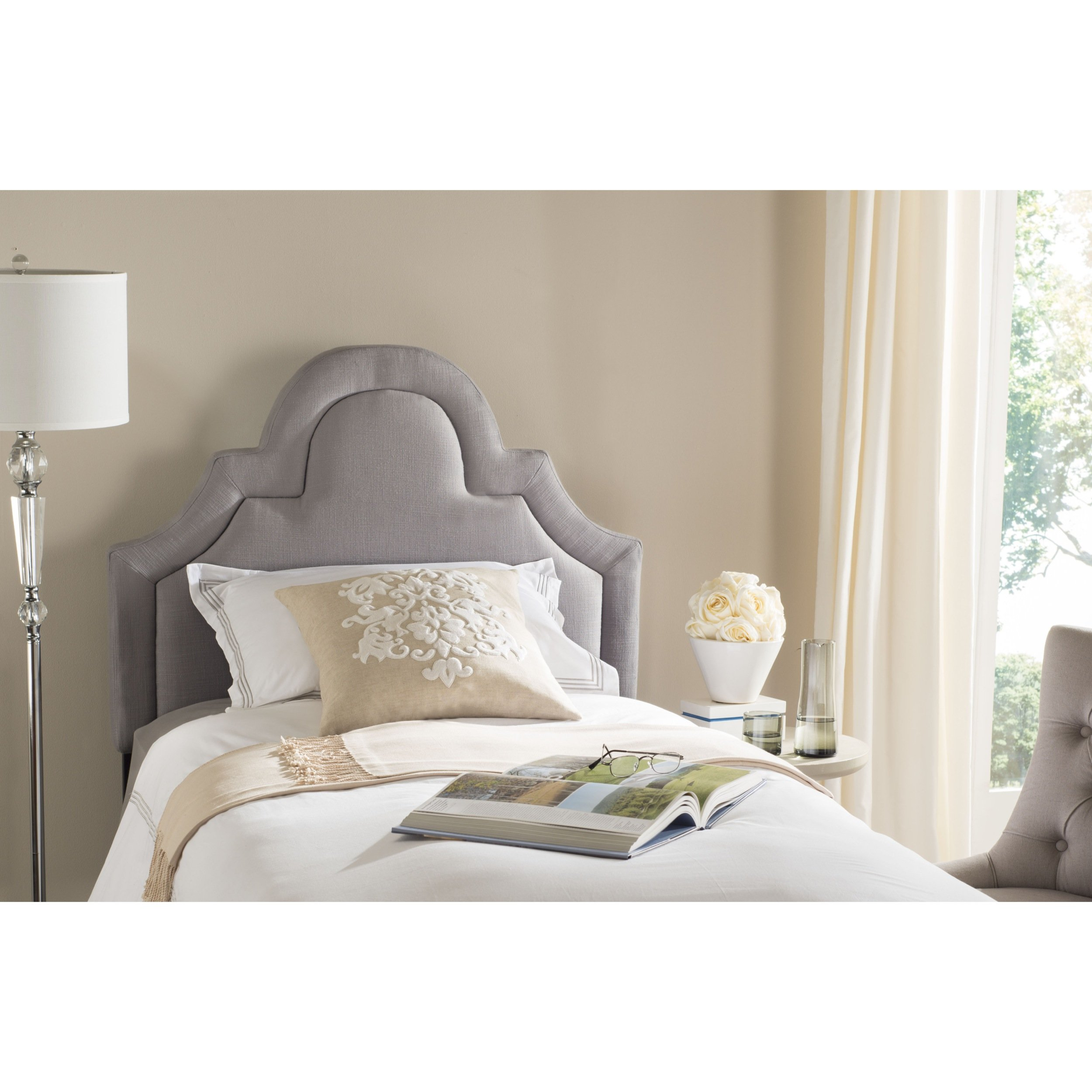 Safavieh Kerstin Arctic Grey Cotton Blend Upholstered Arched Headboard (Twin) by Safavieh (Image #1)