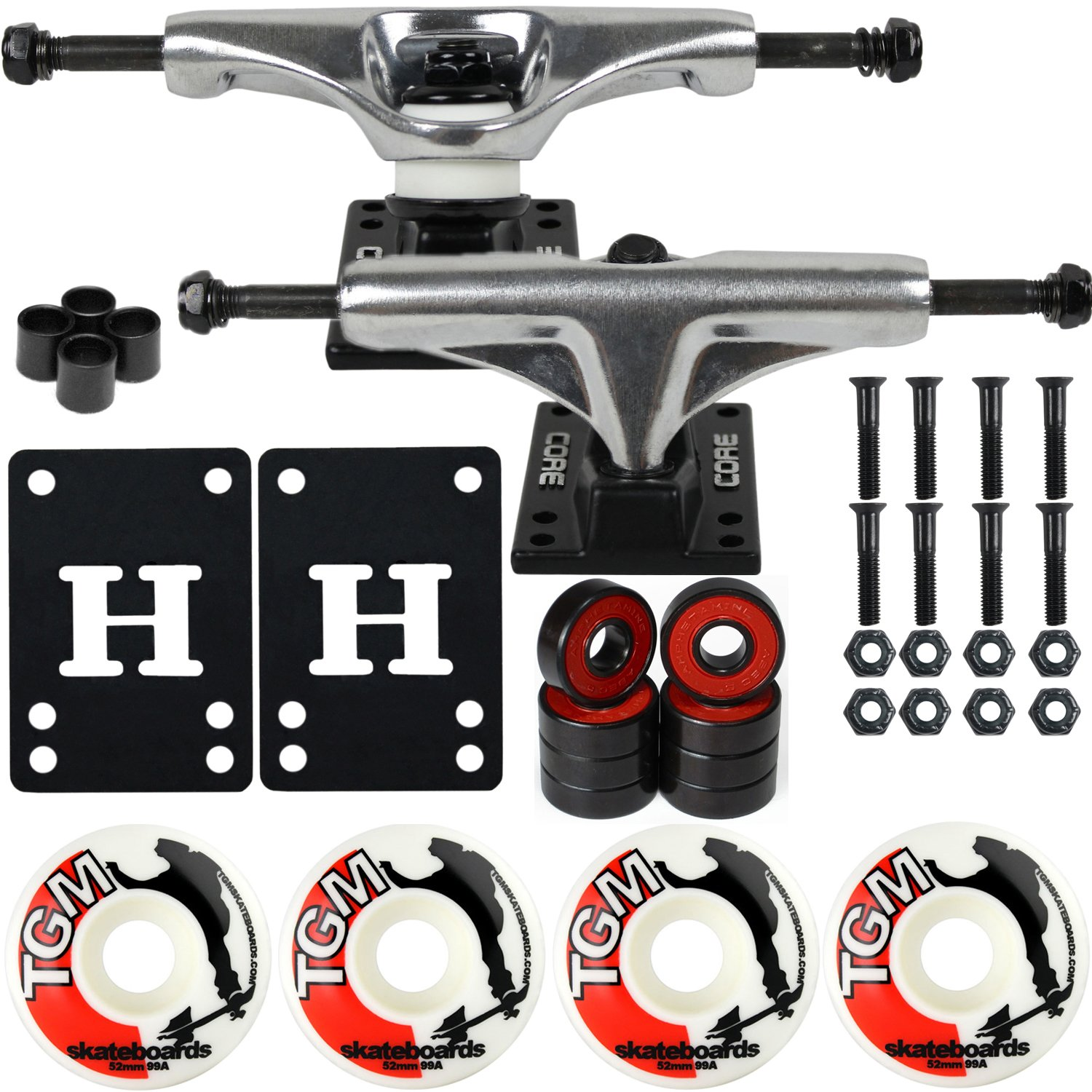 CORE Skateboard Package 5.0'' Trucks 52mm with White Wheels + Components (Silver Hanger/Black Base) by CORE