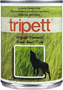 Tripett Original Formula Green Beef Tripe Dog Food, 13 oz cans, Pack of 12