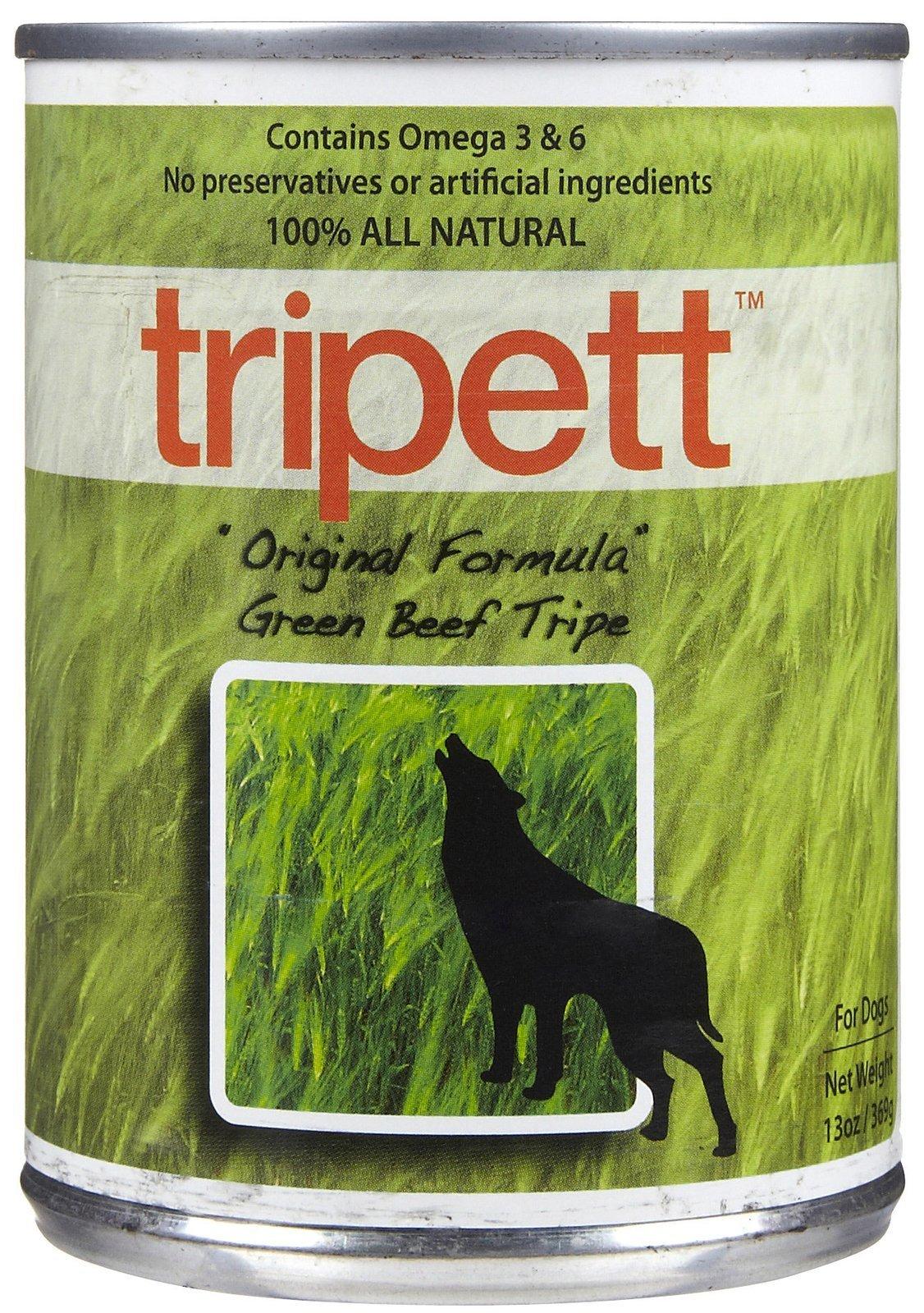 Tripett Original Formula Green Beef Tripe Dog Food, 13 oz cans, Pack of 12 by Tripett