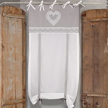 Tenda Finestra Shabby Chic 60 x 240 Colore Bianco Grigio Cuore e ...
