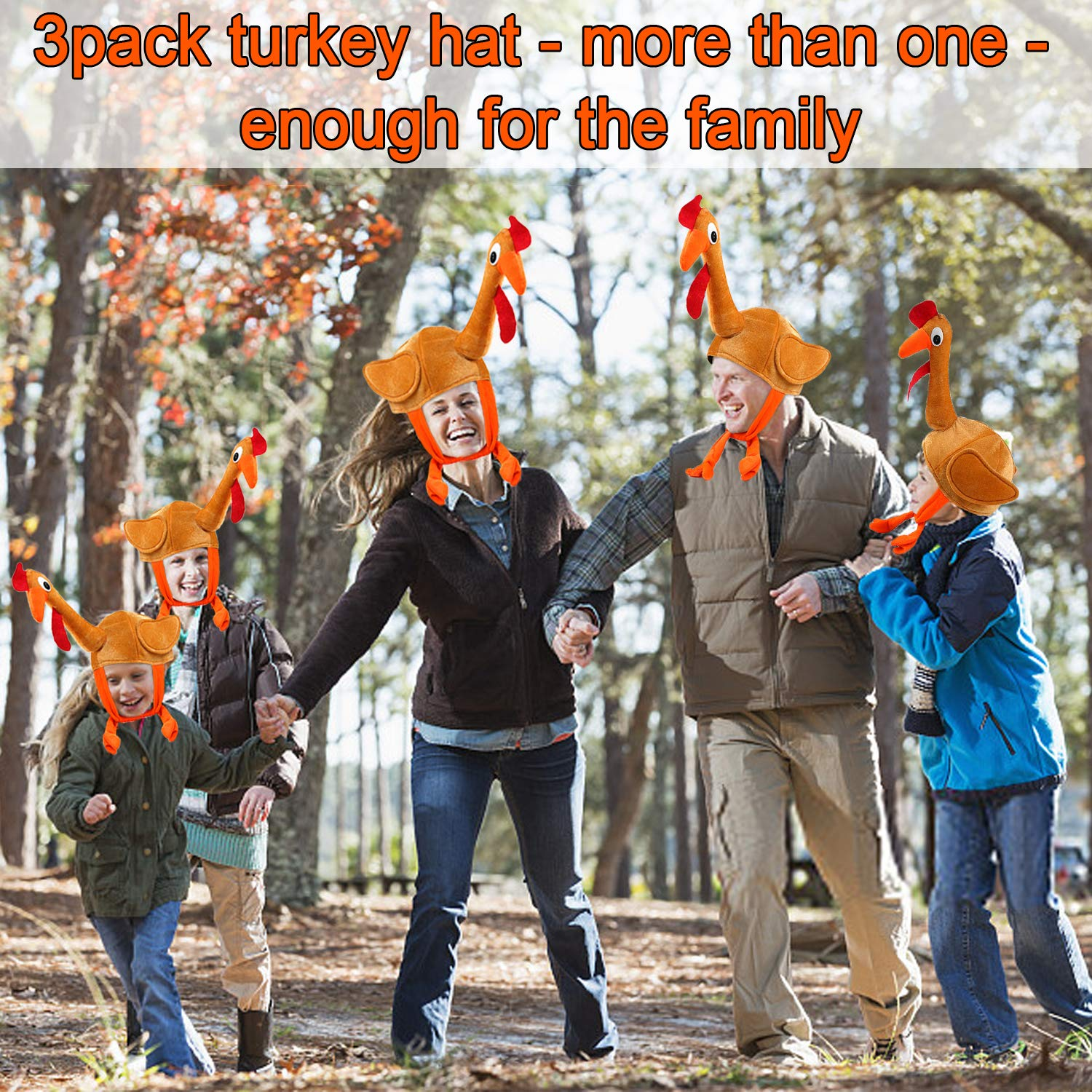 3 Pack Turkey Hats for Kids Woman Man Thanksgiving Hat With Head Thanksgiving Party Favors Supplies Fun Plump Turkey Hat Legs And Tail Fancy Dress Accessory Trot Accessory Toy for Holiday Gift