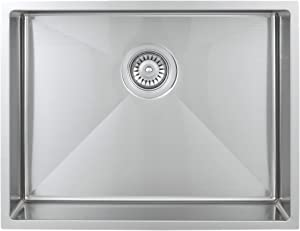 Wells Sinkware SSU2318-45 18-Gauge ADA Handcrafted Undermount Single Bowl Kitchen Sink, Stainless Steel