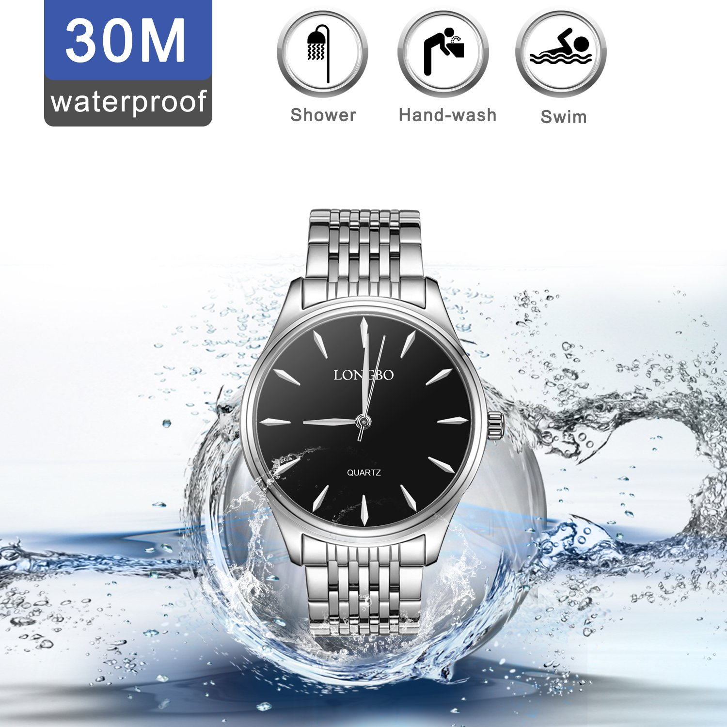 Women Watches,LONGBO Couple Stainless Steel Band Watch Dress Business Wrist Watches Fashion Casual and Waterproof Watches for ladies(Women)