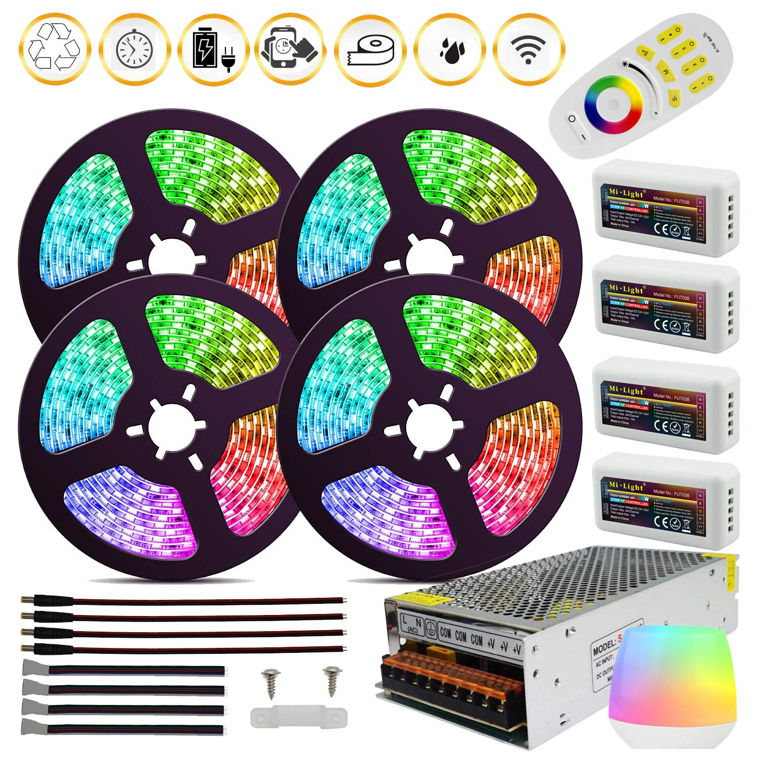 DC12V RGBW SMD5050 Led Strip Light RGB+White LED Tape 60leds/m + Mi-Light Controllers + 20A Power Supply for Home Decoration (RGBW IP65, 5mx4 Rolls Strips Kit, with 10x Fixed Buckles)