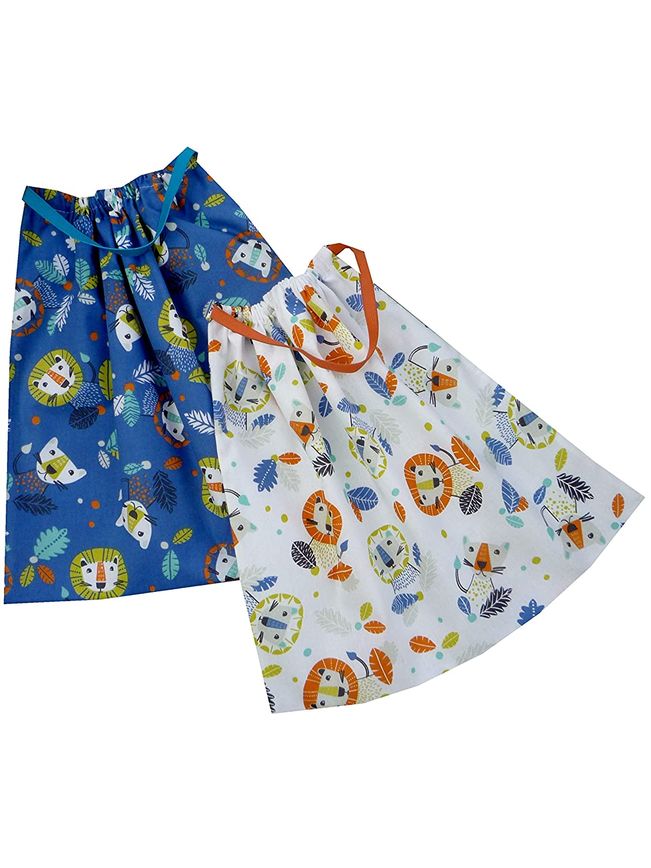 Lion Sackcloth Sally Lot de 2 Serviettes de Table Enfant /élastiqu/ées
