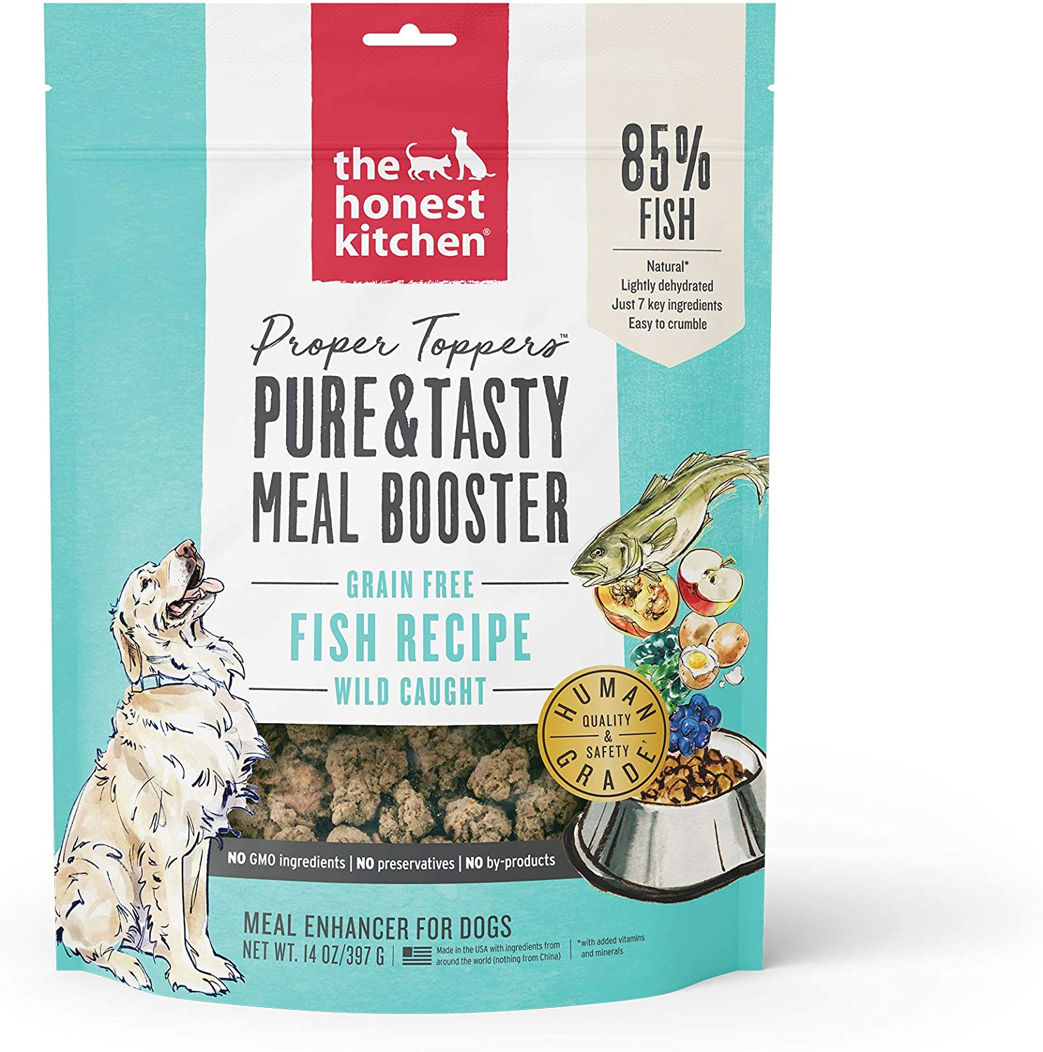 Honest Kitchen Proper Toppers: Natural Human Grade Dehydrated Dog Superfood - Wild Caught Fish