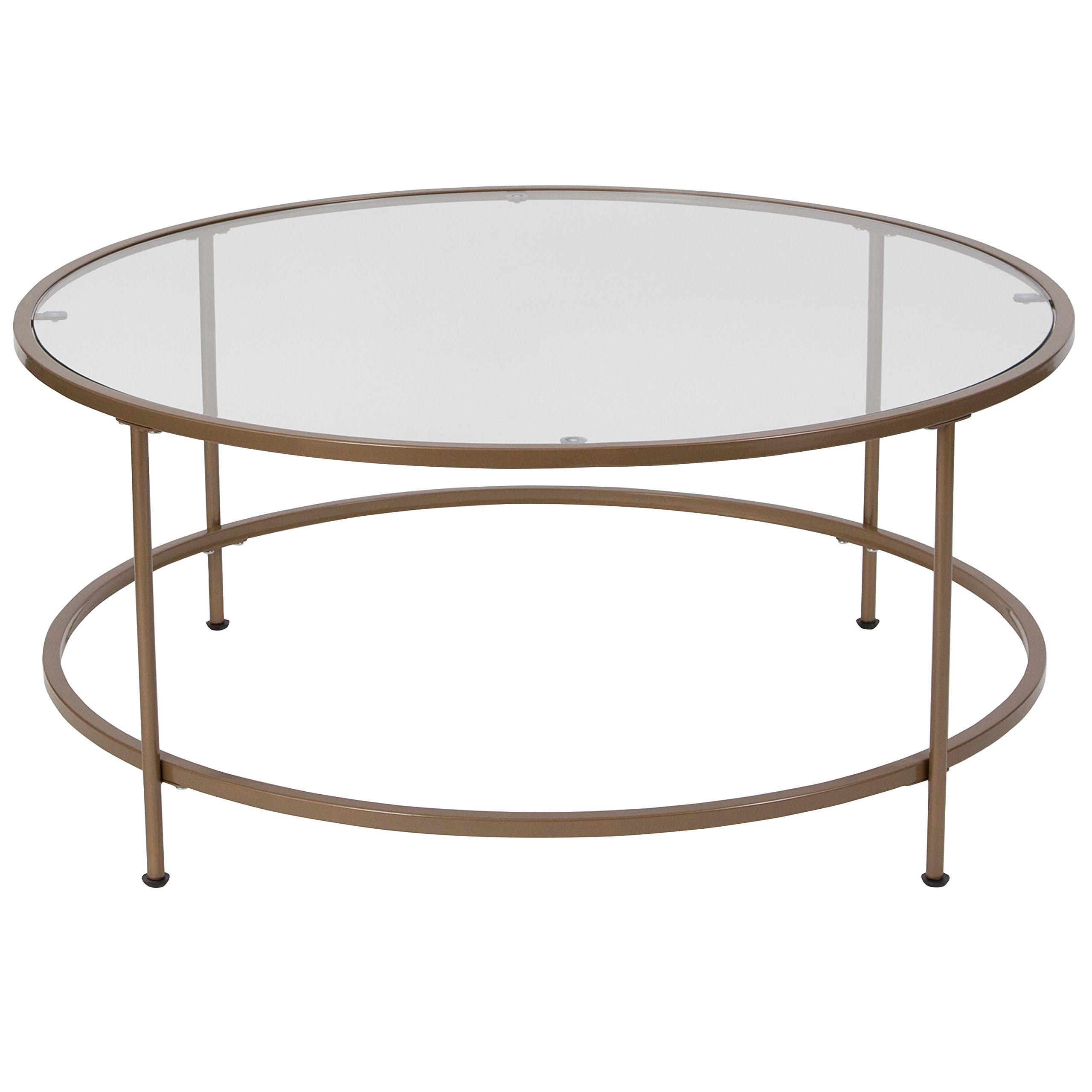 Flash Furniture Astoria Collection Glass Coffee Table with Matte Gold Frame by Flash Furniture