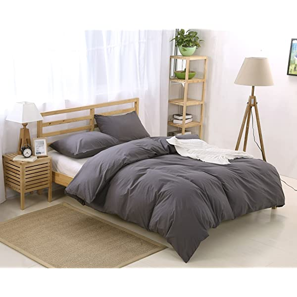 100/% Washed Cotton 3-Piece ATsense Duvet Cover King Seamour.a Simple Style Bedding Set Dark Grey 7003-4 Ultra Soft and Easy Care Bedding Duvet Cover Set