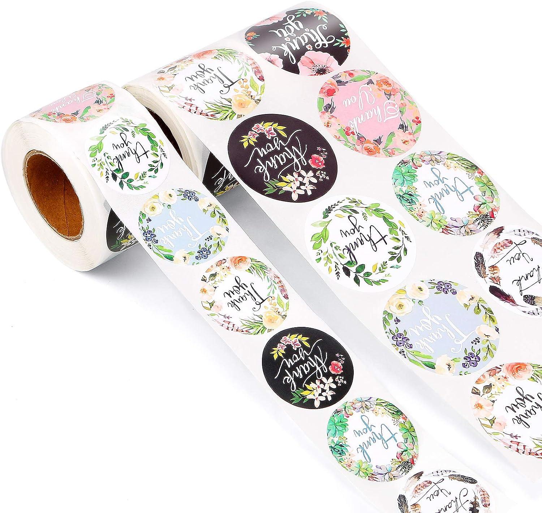 1000 pegatinas redondas de agradecimiento con 8 tipos de flores, pegatinas hechas a mano, hechas a mano con el texto