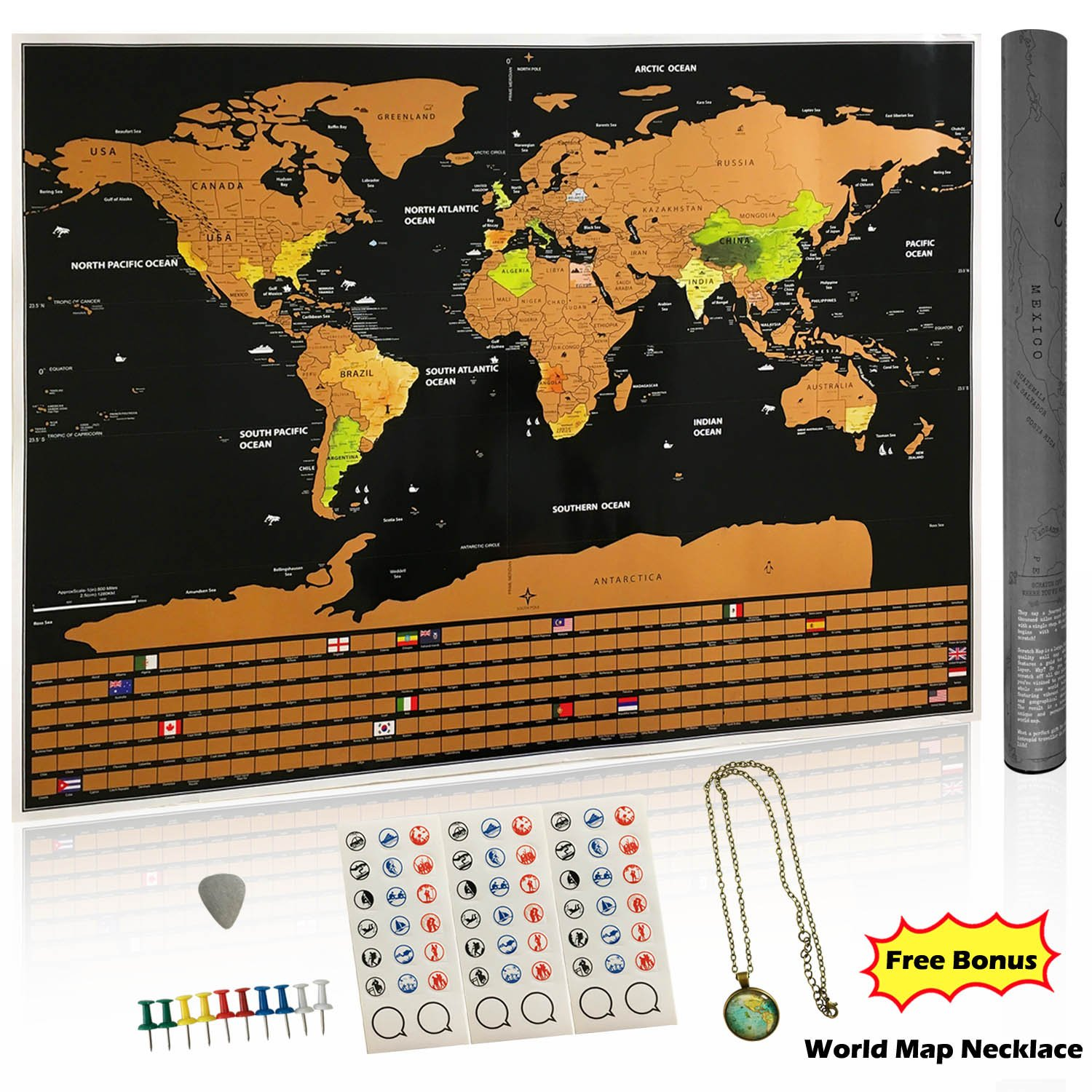 Scratch off world map poster deluxe large edition with us states perfect gumiabroncs Image collections