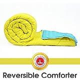 Divine Casa Polyester Comforter/Blanket/Quilt/Duvet Lightweight, All Weather, Single Comforter, Sky Blue and Yellow - Stripe (150 GSM)