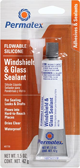 Permatex 81730 Flowable Silicone Windshield and Glass Sealer, 1.5 oz.
