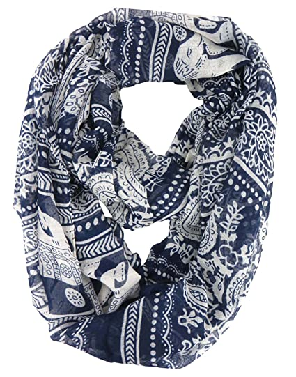 30a0bb29f73ae Image Unavailable. Image not available for. Color  lucky Indian elephant  animal infinity scarf wrap Fashion accessory Circular