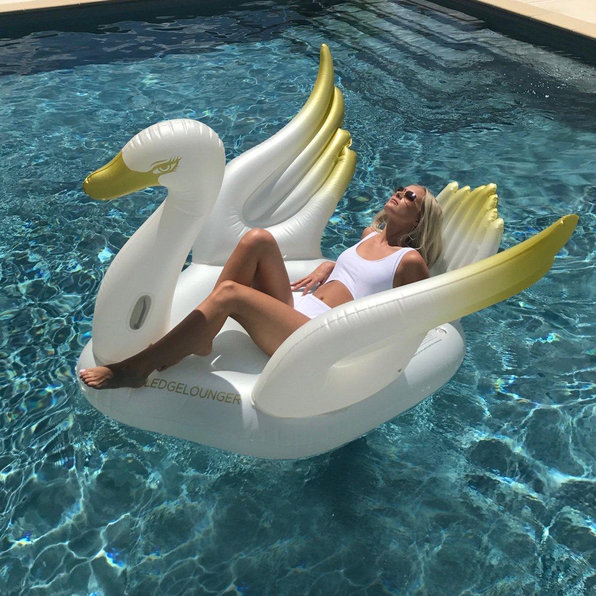 Amazon.com: Tumbona flotador de cisne: Toys & Games