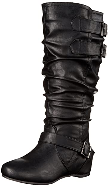 Brinley Co Women's Cammie-Xwc Slouch Boot, Black Extra Wide Calf, ...