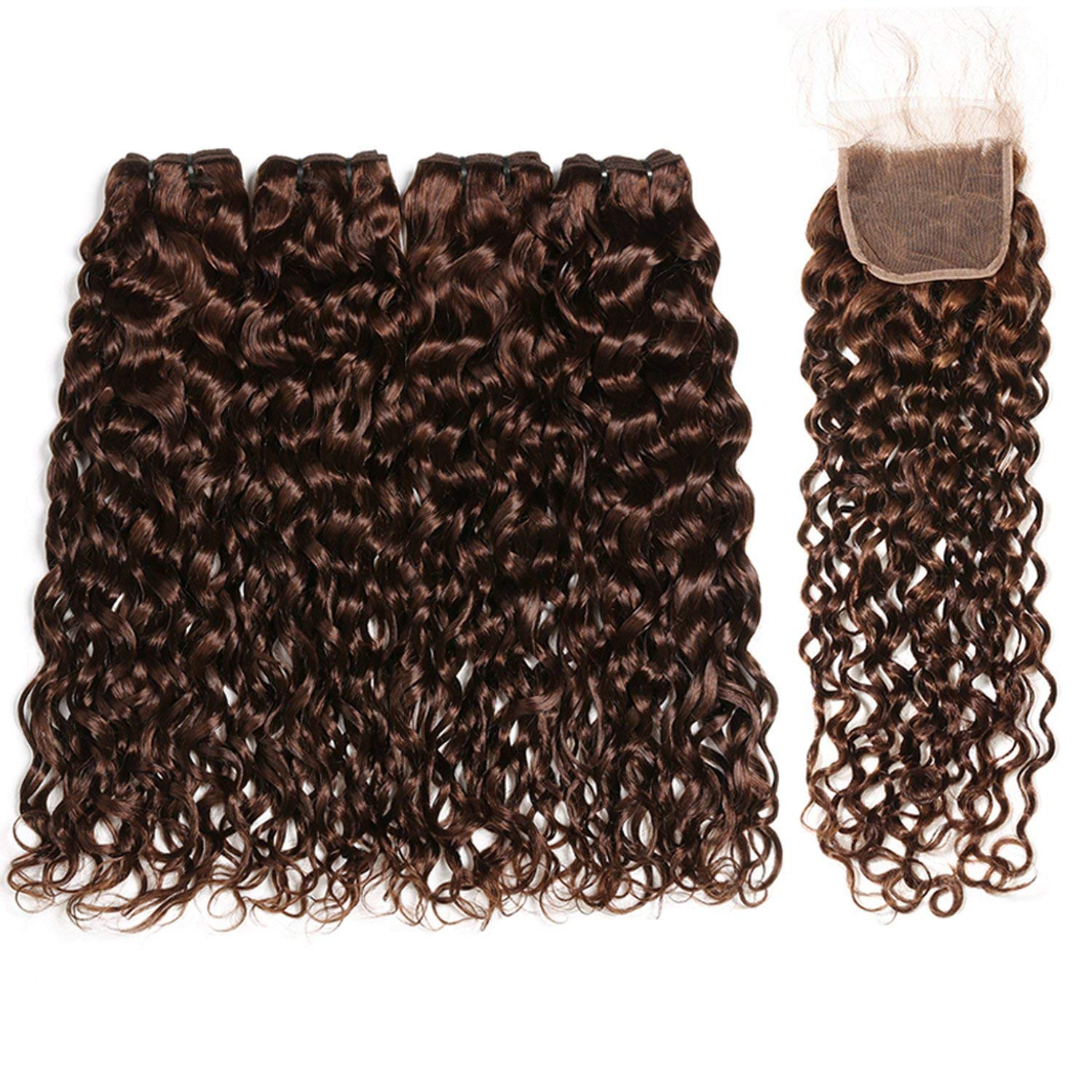 Brazilian Water Wave Bundles With Closure Light/Dark Brown Colored Human Hair Bundles With Closure Baby Hair Non Remy Romantico,14 16+12Closure,#2,Middle Part 81QMJdwXa3L._SL1500_