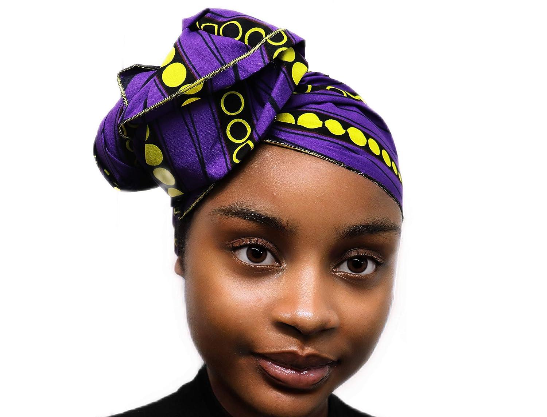 アフリカンヘッドラップヘッドスカーフヘッドバンドヒジャーブターバンアフリカのワックスプリント生地スーパーロング丈|首のスカーフとして身に着けることができる(紫、黄色)   B07HHL9QH4