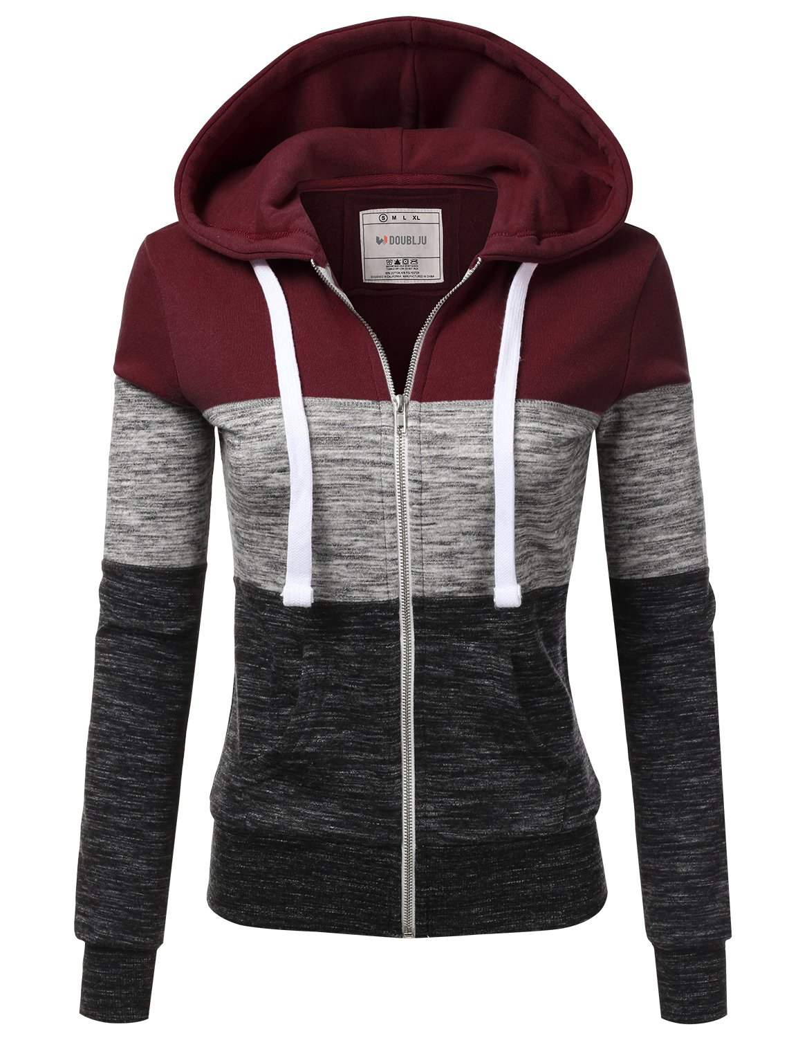 ویکالا · خرید  اصل اورجینال · خرید از آمازون · Doublju Lightweight Thin Zip-Up Hoodie Jacket for Women with Plus Size Burgundy Large wekala · ویکالا