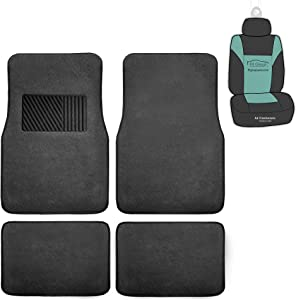 FH Group F14403 Carpet Floor Mats with Heel Pad w, Solid Black Color- Fit Most Car, Truck, SUV, or Van