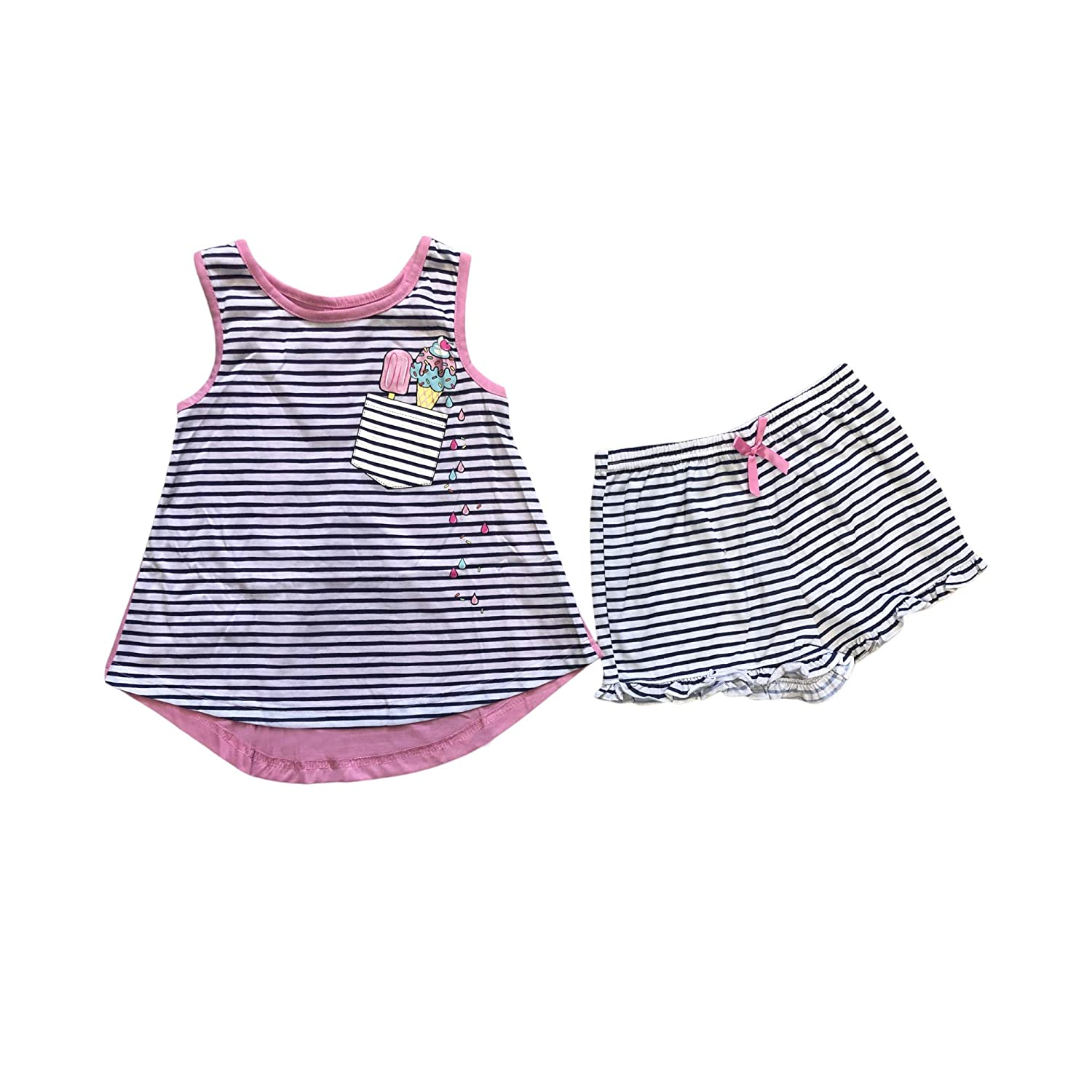 Girls Navy Blue Stripped Sleeveless Ice Cream Cone and Popsicle top with Matching Ruffle Striped Shorts with Pink Bow