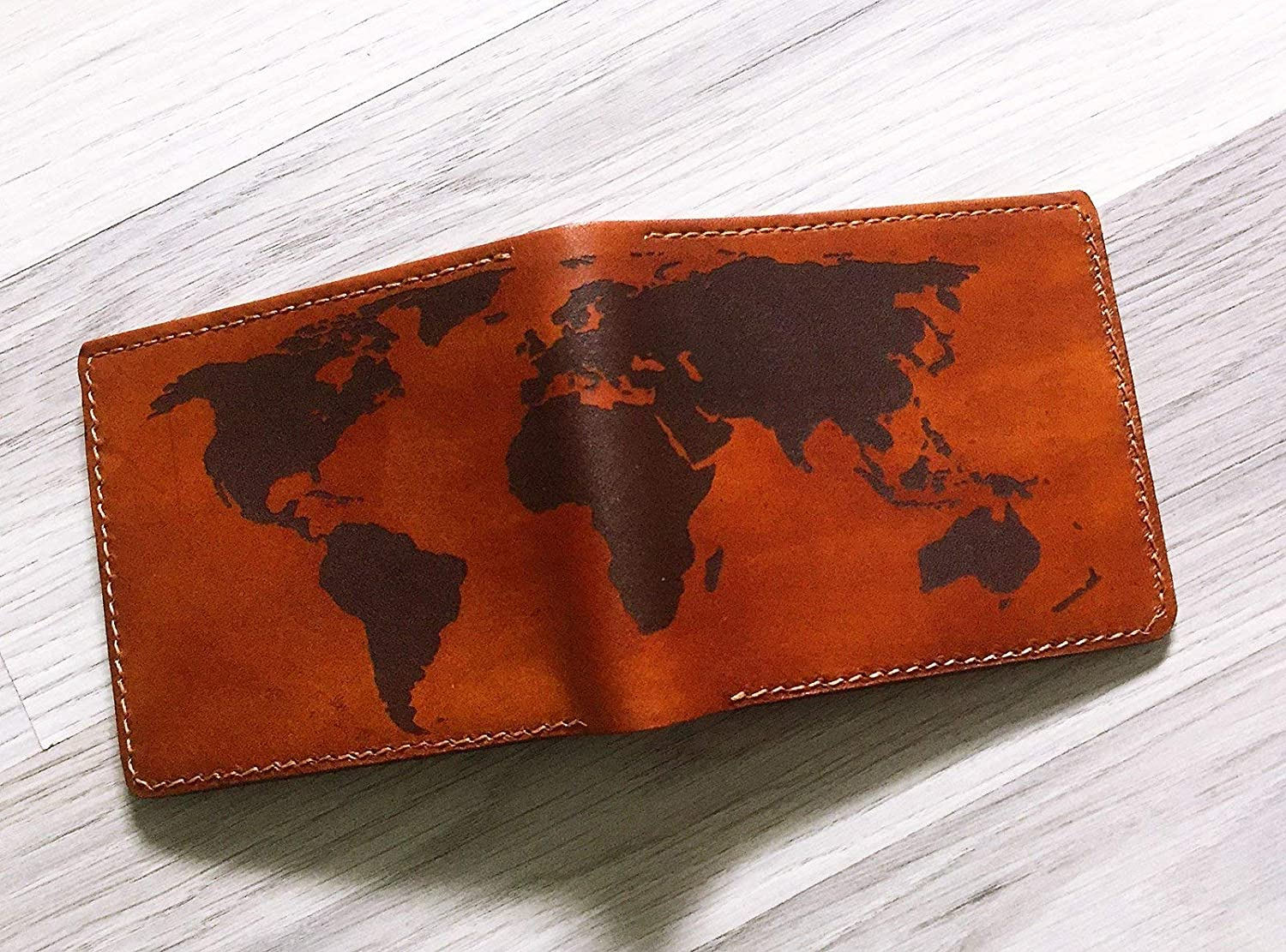 Linked Squares Genuine Leather Mens Bi-fold Wallet Personalized