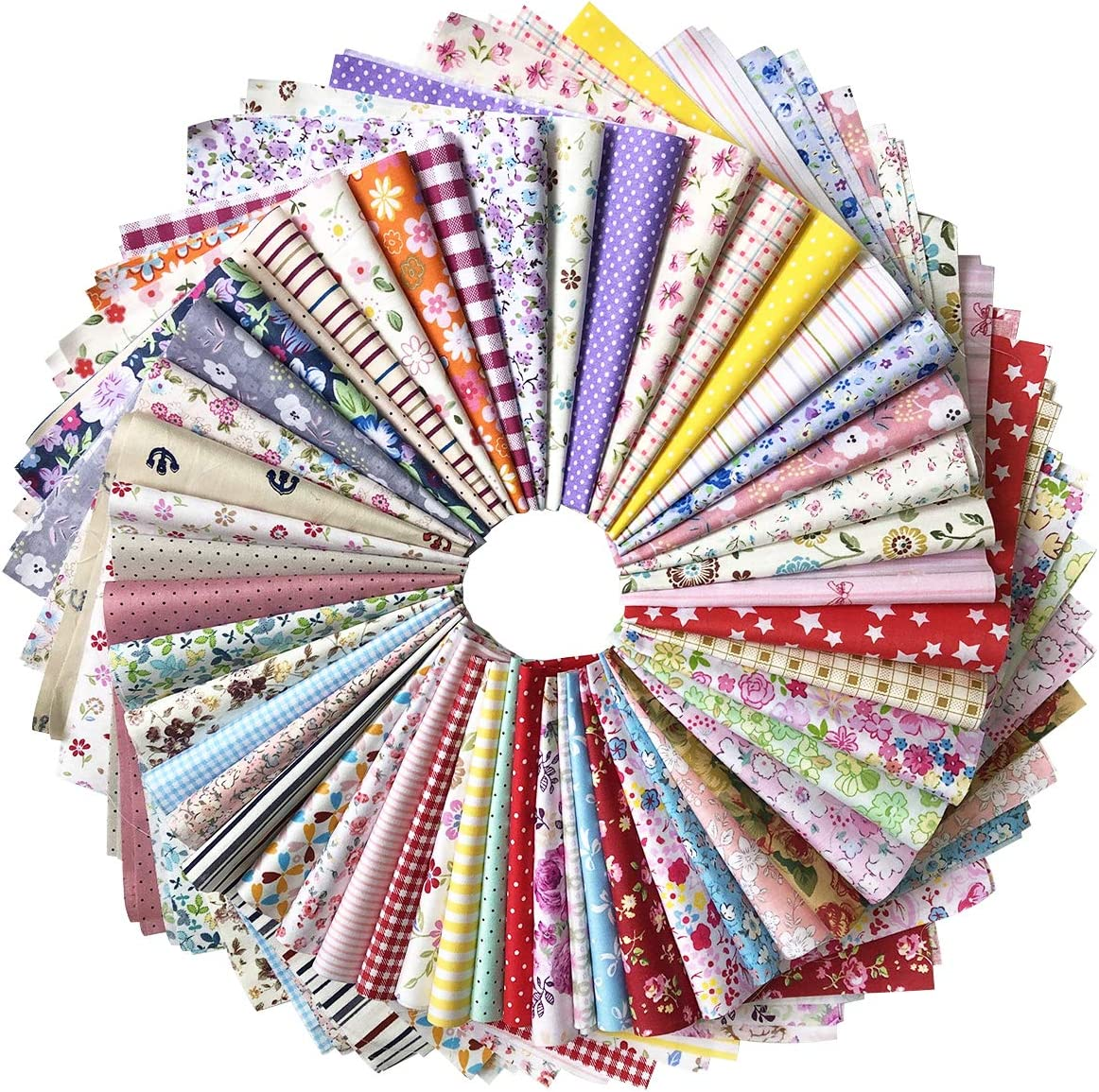 levylisa 50pcs Printed Cotton Quilting Fabric Assorted Craft Fabric Bundle Squares Patchwork Precut Fabric for DIY Craft Embellishment Sewing Scrapbooking Quilting (12''x12'')