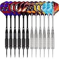 WIN.MAX Dartpijlen, 12 stuks stalen dartpijlen, 24 gram professionele steeldarts met metalen punt, darts staal, dartpijl…