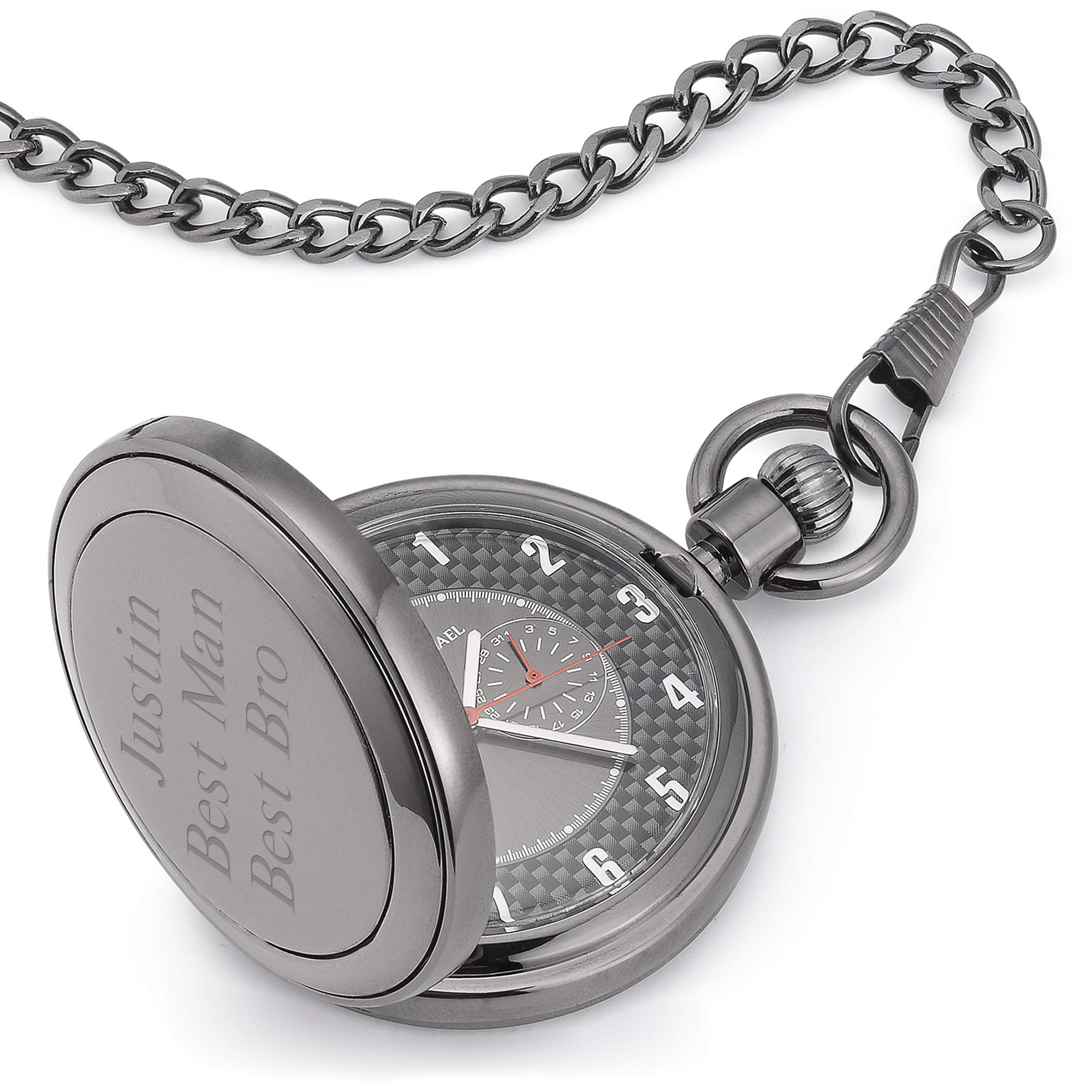 Things Remembered Personalized Gunmetal Carbon Fiber Pocket Watch with Engraving Included by Things Remembered