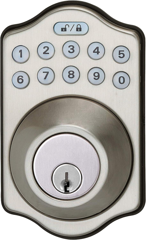 AmazonBasics Traditional Electronic Keypad Deadbolt Door Lock, Keyed Entry, Satin Nickel