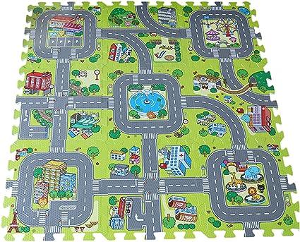 y boa tapis de sol puzzle 9 pcs circuit de route antiderapant antichoc jeu imagination bebe taille 30 30 1cm mousse