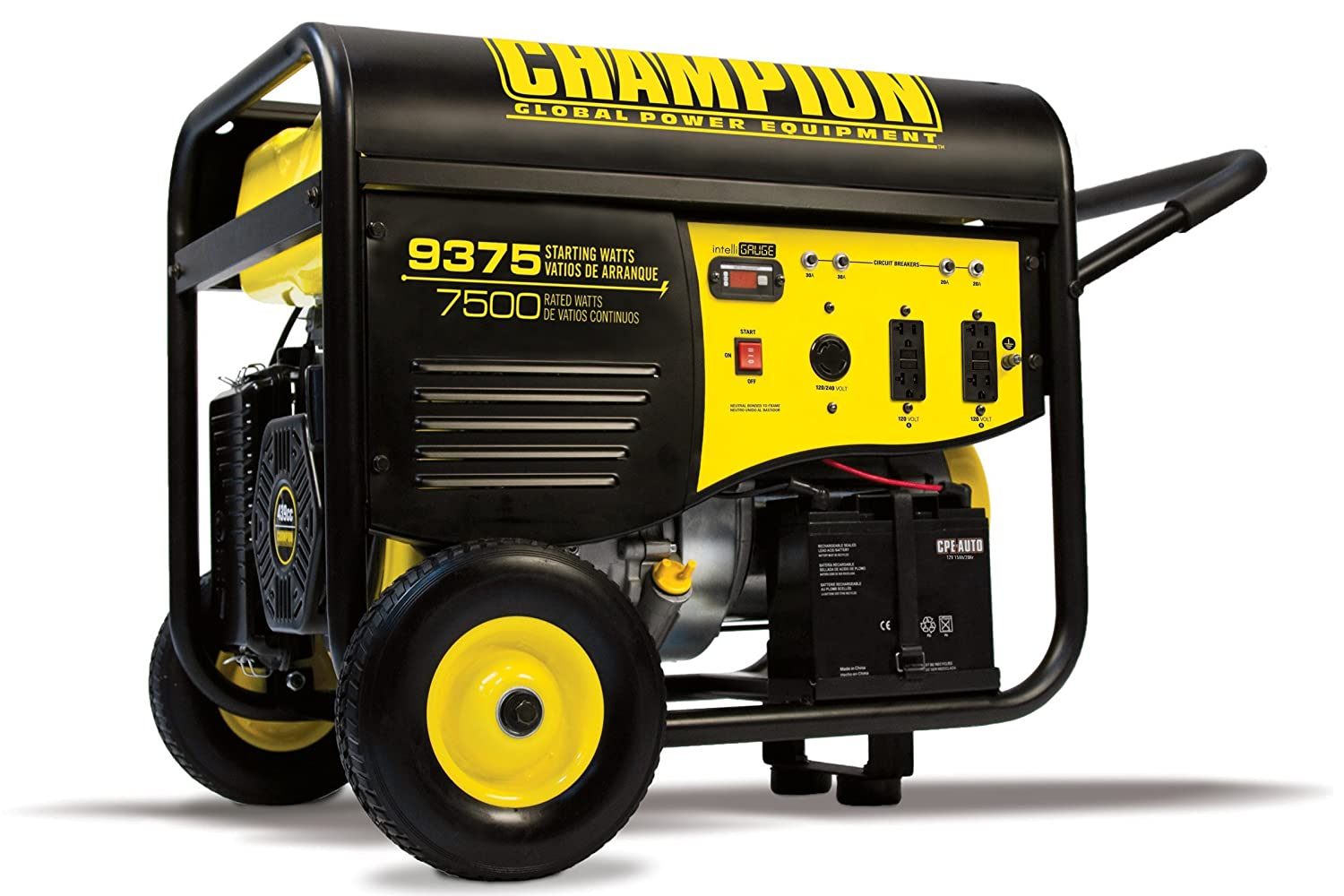 Champion 7500 Watt Portable Generator With Electric Split Supply Start And 25 Ft Extension Cord Garden Outdoor
