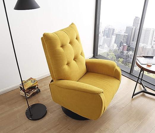 SuenosZzz - Sillon Relax reclinable Ground tapizado Tela Color Mostaza | Sillon reclinable butaca Relax de pie | Sillon orejero Individual Salon | ...