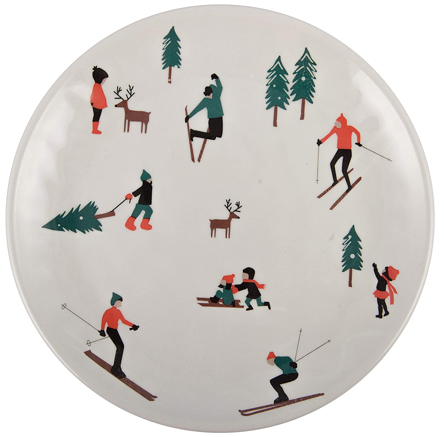 10.5 White Melange 608410095663 36 Piece 100/% Melamine Salad Plates Christmas Collection-Ski Holiday Shatter-Proof and Chip-Resistant